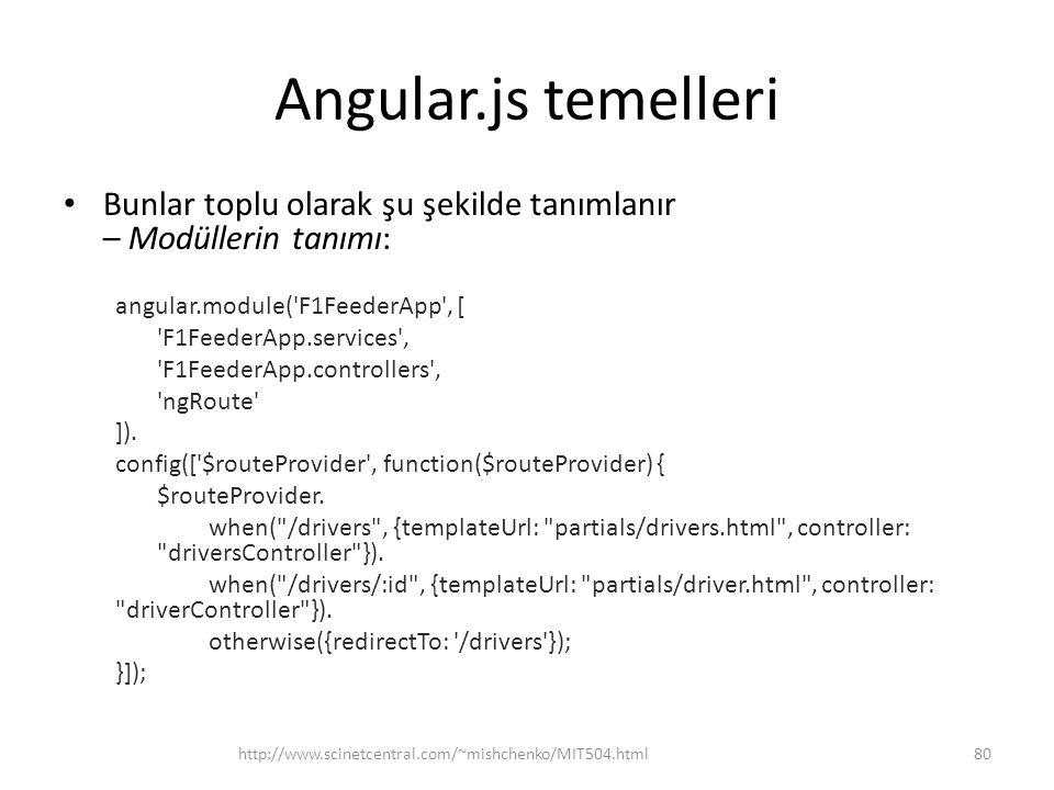 Angular.js temelleri Bunlar toplu olarak şu şekilde tanımlanır – Modüllerin tanımı: angular.module( F1FeederApp , [